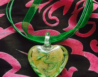SALE murano glass green gold yellow heart on organza ribbon necklace