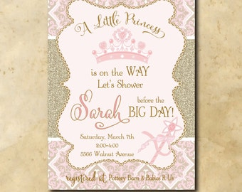 Princess Baby Shower Invitation printable/Digital File/pink and gold baby shower, glitter/Wording can be changed