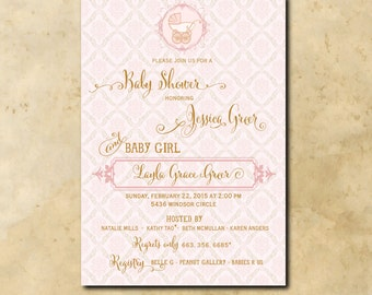 Vintage Baby Girl Shower Invitation printable/Digital File/traditional, pink and gold, gold and pink, carriage, /Wording can be changed