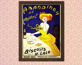 Amandines De Provence 1900 Advertising Print - Food Drinks Retro Advertising Design Art Print Quality Home Wall Decort