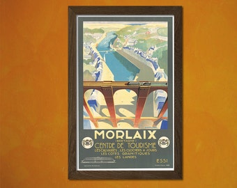 Morlaix Bretagne Tourism Center 1936  - Vintage Tourism Travel Poster Advertising Retro Wall Decor Office decorationt
