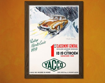 Rally Monte Carlo Oil Advertising Poster 1959 - Vintage Car Poster Retro Wall Decor Office decoration Coltelloni Alexandret