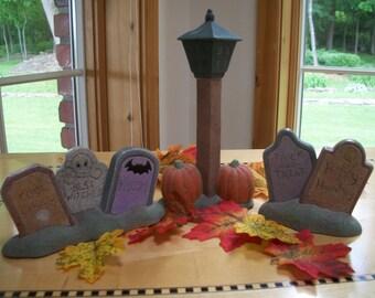 Ceramic halloween tombstone set graveyard scene