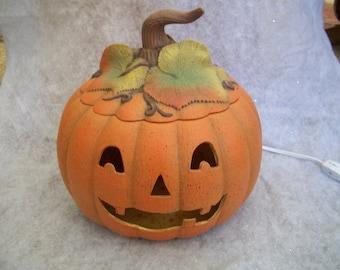 ceramic Halloween lighted pumpkin