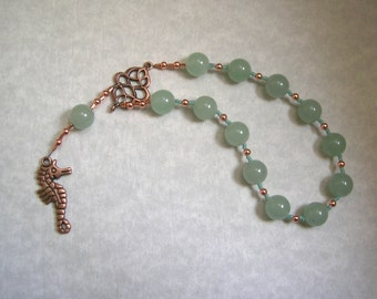 Poseidon Pocket Prayer Beads in Green Aventurine: Greek God of the Sea, Protector and Patron of Sailors