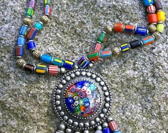 TREASURED - OOAK Necklace/Antique 1900s Millefiori Venetian Glass Beads Necklace/Antique Beads Necklace/Venetian millefiori beads necklace