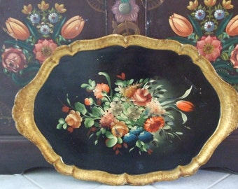 Vintage c.40s Florentine Italian Gold Gilt Black Floral Tole Tray / Beautiful Vintage Italian Florentine Hand-Painted Floral Design Tray