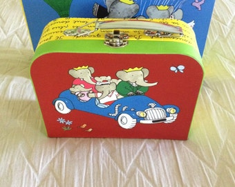 Small Babar The Little Elephant Mini Cardboard Carrying Case.Birthday, Party, Gift Box, Storage, Decor, Pretend Play for Dolls
