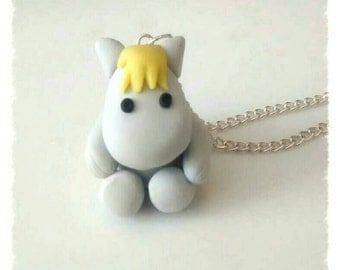 Moomin polymer clay snork maiden  moomin inspired charm necklace chain 1980s retro jewellery novelty item qurkie gift kitsch