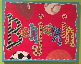 Hand painted personalized name painting on canvas - sports theme