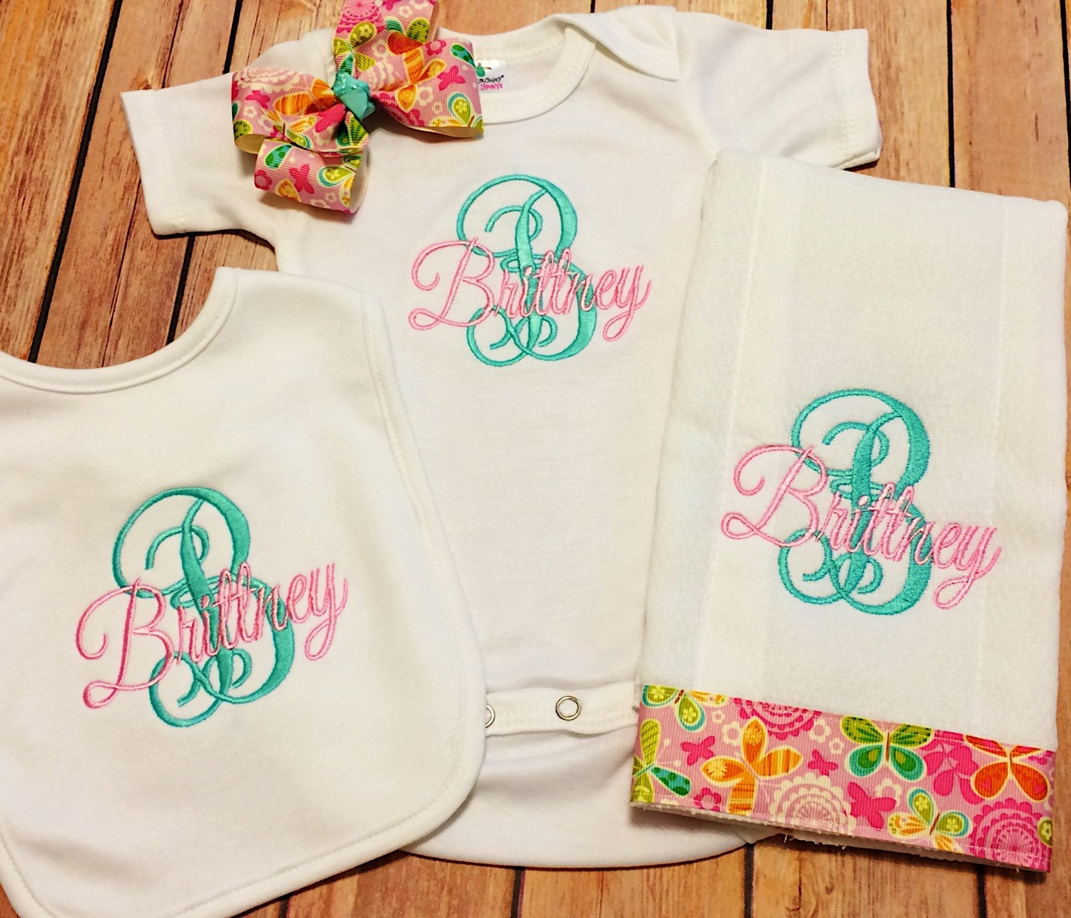 Monogram Baby Girl Clothes Personalized Bodysuit by