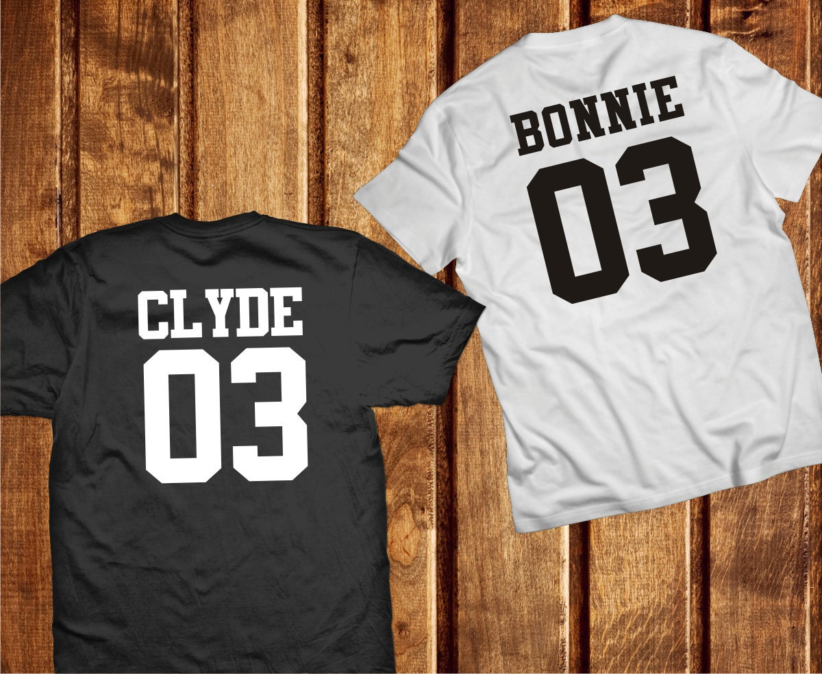 bonnie and clyde couple shirts couples tshirts by trend2tees. Black Bedroom Furniture Sets. Home Design Ideas