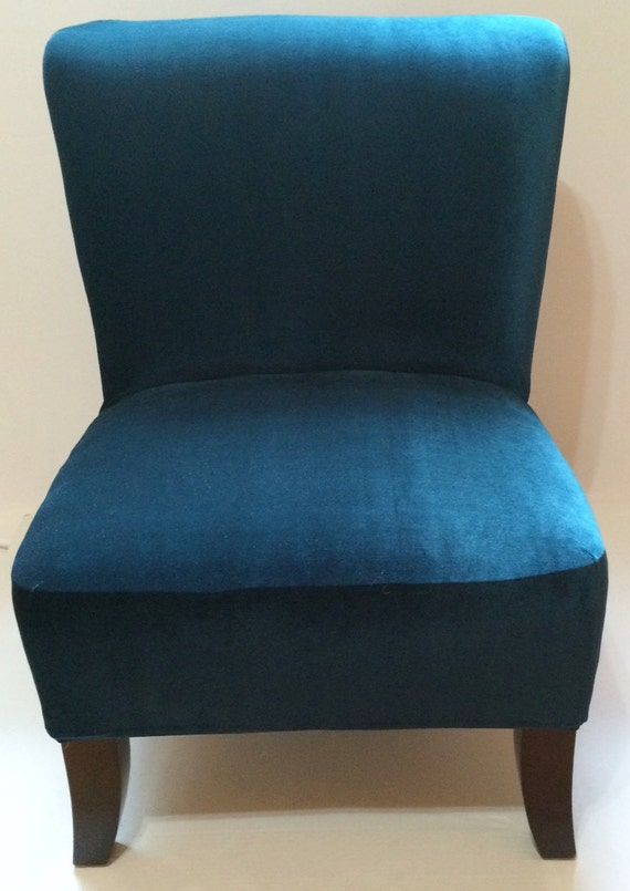 Slipcover Teal Velvet Stretch Chair Cover For Armless