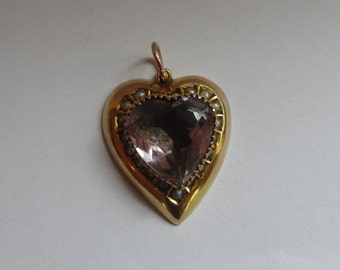 9ct gold Victorian seed pearl and amethyst heart pendant.