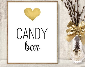 Candy Bar // Watercolor Wedding Dessert Sign DIY // Gold Heart, Watercolor Heart Sign, Printable PDF Poster ▷ Instant Download