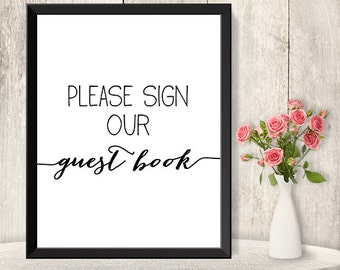 Please Sign Our Guest Book Sign / Wedding Reception Sign DIY / Trendy Calligraphy Sign / 8x10 Sign / Printable PDF Poster ▷ Instant Download
