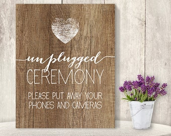 Unplugged Wedding Sign // Unplugged Ceremony // Wedding Ceremony Sign DIY // Rustic Wood Sign, Calligraphy Printable ▷ Instant Download