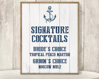 Nautical Signature Cocktail Sign / His and Hers Drink / Nautical Sign, Navy Anchor / Nautical Planks ▷ Printable File {or} Printed & Shipped