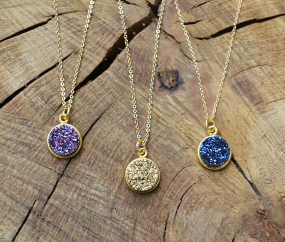 Round Druzy Necklace, Druzy Pendant, Gold Druzy Necklace, Gold Druzy Pendant, Silver Druzy Pendant, Silver Druzy Necklace, Druzy Necklace