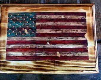 Flag on Rustic Pine Wood Frame