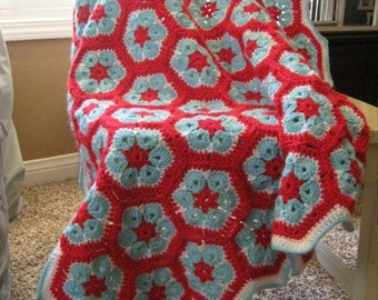 "Granny Square Crochet Baby Blanket 38"" x 46"" In Stock Ready to Ship"