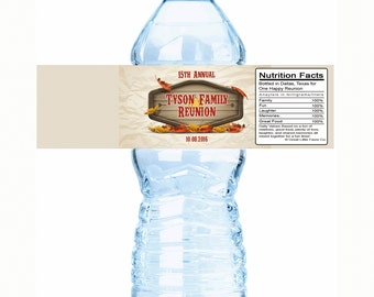 """Wood Pumpkin Family Reunion Water Bottle Labels - Select the quantity you need below in the """"Pricing & Quantity"""" option tab"""