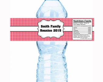 """20 Picnic Family Reunion Water Bottle Labels- Select the quantity you need below in the """"Pricing & Quantity"""" option tab"""