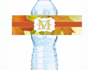 Wedding Water Bottle Labels - Fall Wedding Decor - Fall Wedding Labels - Monogram Wedding - Fall Monogram - Wedding Stickers