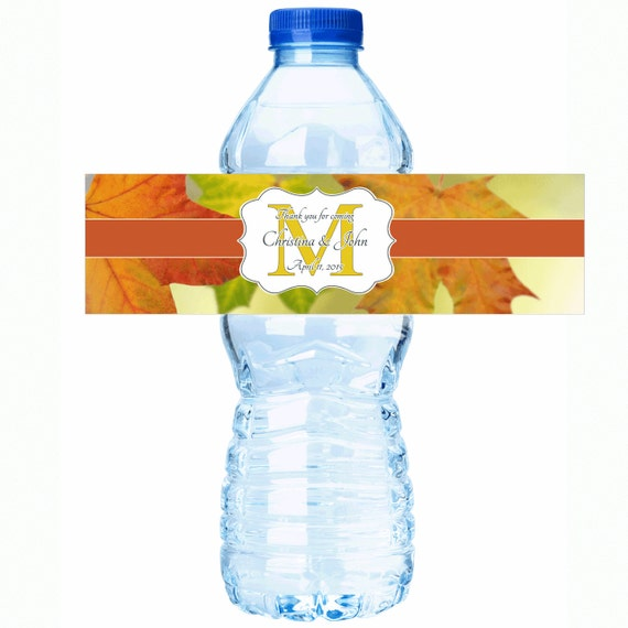 wedding water bottle labels fall wedding decor fall wedding labels