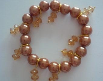 Brown Beaded Charm Bracelet   (#166)