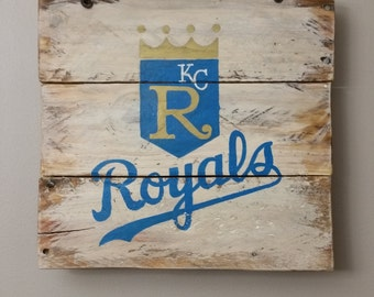 Handpainted KC Royals sign on reclaimed wood