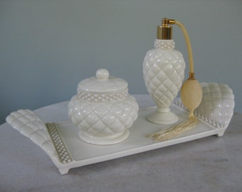 Avon Collectible Cream with Pearl Detail Vanity Set
