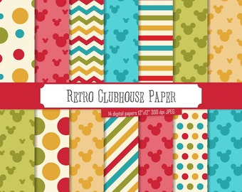 Buy 2 Get 1 Free! Retro Clubhouse Inspired Digital Papers, Green, Red, Yellow chevron, polka dot, stripes, head, Mickey Mouse, seamless