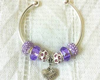 Special Sister Purple Rhinestone Heart Charm Silver Plated Bangle Bracelet 7.5 Inches