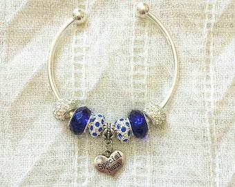 Special Nana Charm Rhinestone Beads Silver Plated Bangle Bracelet 7.5 Inches