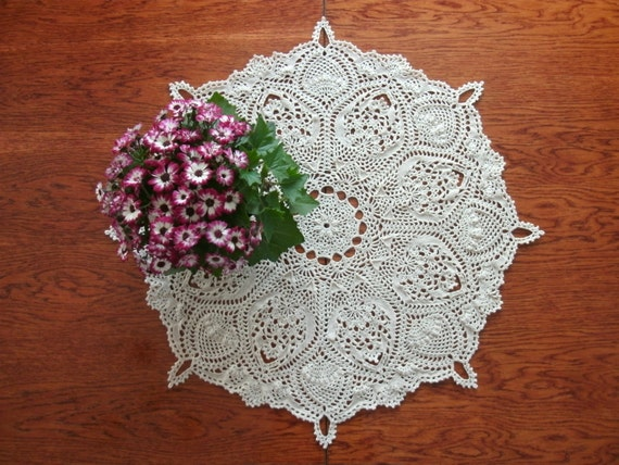 Free Crochet Patterns Round Table Toppers : Round table topper 27 inches Crochet beige by ...