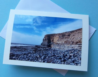 "The Cliffs and Beach at Southerndown, Large Photo Card 7""x 5"" Blank"