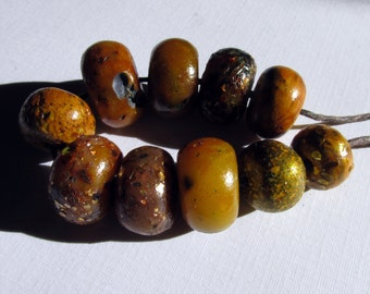 Brown and Green Grungy Sparkle Artisan Beads _ Set of 10 beads