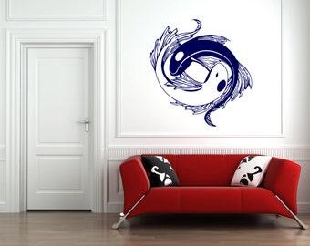 Yin yang wall decal etsy for Meuble mural yin yang