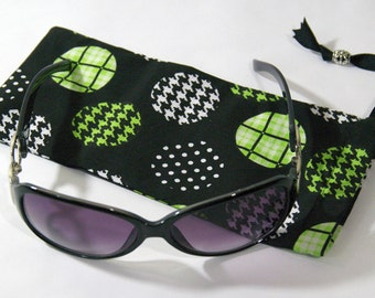 Sunglasses, Eye Glasses, Reading Glasses Case in Cotton Polka-Dot Lime With a Jersey Knit Lining