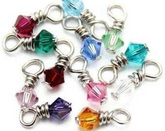 Birthstone Charm, Swarovski Crystal Add On Charm, Dangle Drop Silver Birthstone