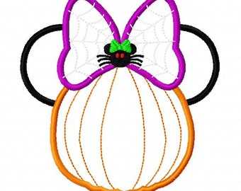 Character Inspired Mouse Pumpkin with spider bow ADD Intials or Monogram Embroidery Applique Design