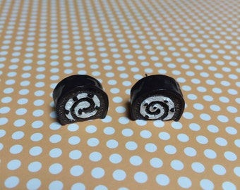 Chocolate Swiss Roll Cake Earrings