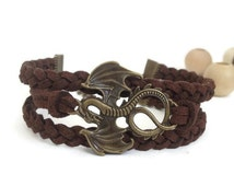Dragon Bracelet Dark brown suede bracelet Antique bronze charm bracelet Friendship bracelet unisex Men dragon bracelet Women dragon bracelet