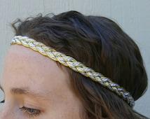 Womens headbands Bohemian Boho Hippie Headband- Sparkly Metallic Gold & White braided head band vintage rustic wedding or greek toga party