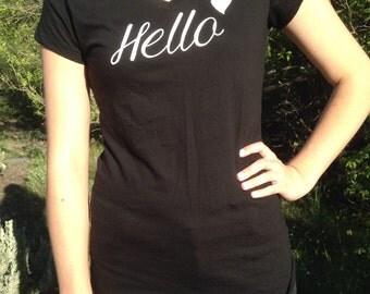 """Black, women's v-neck, """"Hello"""" shirt"""