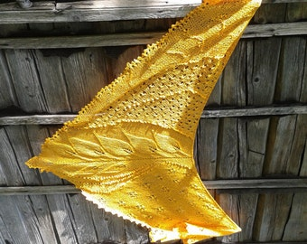 Hand knit shawl in yellow lace scarf, gift for her,hand knit shawl with leaves, Fashion Accessories, women accessories