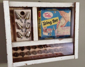 Shadow Box with Vintage Tala Icing Set, plexiglass cover