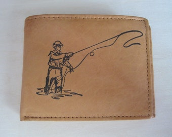 "Mankind Wallets Men's Leather RFID Blocking Billfold w/ ""Fly Fishing"" Image~Makes a Great Gift!"