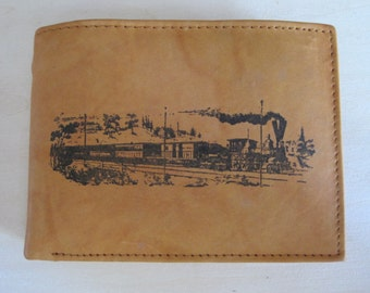 "Mankind Wallets Men's Leather RFID Bocking Billfold w/ ""Locomotive/Train"" Image~Makes a Great Gift!"